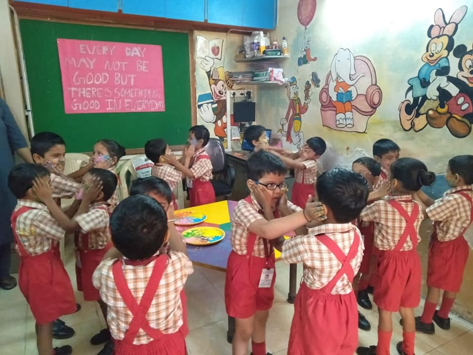Students celebrated Holi