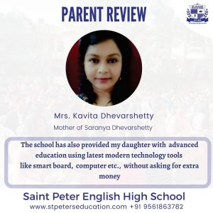 Mrs. Kavita Dhevarshe review on St Peter English High School