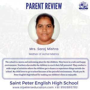 St Peter English High School Review by Mrs. Saroj Mishra