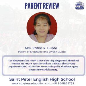 St Peter English High School Review by Mrs. Ratna R. Gupta