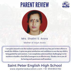 St Peter English High School Review by  Mrs. Shalini S. Arora