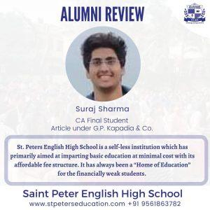 Suraj Sharma, leaves a wonderful review for St Peter English High School