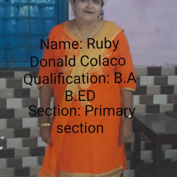 Ruby Donald Colaco Q - B.A, B.Ed S - Primary